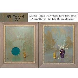 Art Toran Alfonso (Italy/ New York 1896-1965) Asian Still Life Oil On Masonite
