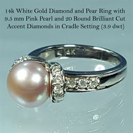 Jewelry 14k White Gold Pink Pearl round Brilliant Cut Diamonds Ring
