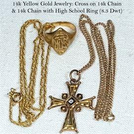 Jewelry 14k Yellow  Gold Chains School Ring Cross Pendant