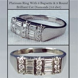 Jewelry Platinum And Baguette and Round Brilliant Cut Diamonds Ring