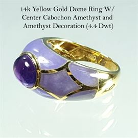 Jewelry 14k Yellow Gold Amethyst Cabochon Ring