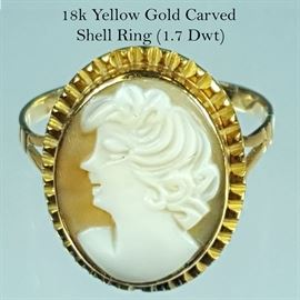 Jewelry 18k Yellow Gold Cameo Ring