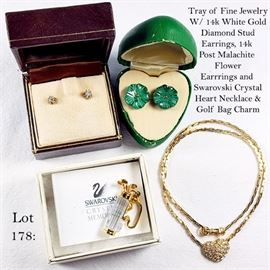 Jewelry 14k Gold Mount Diamond & Malachite Earrings, Swarovski Crystal Memories Golf Bag Pin and Heart Necklace