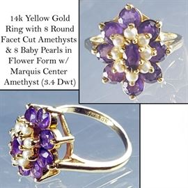 Jewelry 14k Yellow Gold Amethyst & Seed Pearl Flower Form Ring