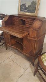 Vintage drop-front marquetry desk