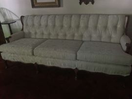 French Provincial brocade sofa w/tufted back