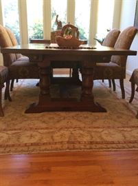 Cherry dining table with 8 upholstered chairs - $3000