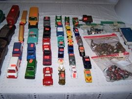 Toy cars & trucks, toy soldiers