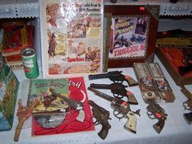 Gene Autry, Hopalong Cassidy, Kit Carson, Wyatt Earp, Roy Rogers, Colt 45 cap guns, Mattel buckle gun belts