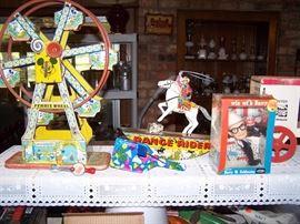 Chein ferris wheel, Marx Lone Ranger & Trigger wind up