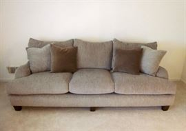 "Oversized, super comfy, pillow-back sofa.  Like new!!  Nice neutral grayish tan fabric.  Made in U.S.A.  Size: 98"" long, 41"" deep"