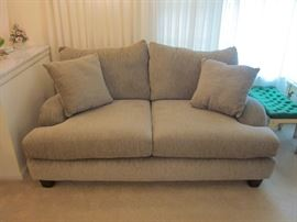 "Oversized, super comfy, pillow-back loveseat.  Like new!!  Nice neutral grayish tan fabric.  Made in U.S.A.  Size: 71"" long, 41"" deep"