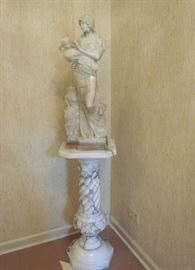 "Gorgeous carved, Italian alabaster, statue of woman with water jug.  She stands on an Italian marble pedestal.  Statue stands 27"" tall.  Pedestal is 30"" tall.  Overall height for both is 57""."