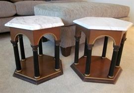 "Grecian style side tables.  Wood arched bases with arches and Grecian columns and solid marble tops.  18"" wide, 17-1/2"" tall"