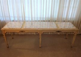 "Extra long console (or coffee) table with three section Italian marble top.  71"" long, 20"" deep, 22-1/2"" high"