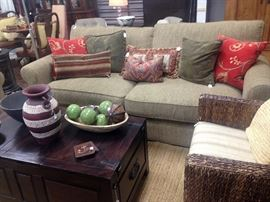 Crate and Barrel Sofa, Chairs and chest
