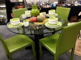 Crate and Barrel glass top table and 4 leather chairs