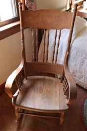 Oak Rocking Chair - Dragon Design Back
