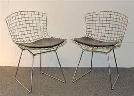 Lot 1 Pair of Harry Bertoia for Knoll Steel Wire Chairs