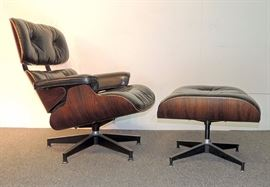 Lot 16 Charles and Ray Eames Lounge Chair (No. 670) & Ottoman (No. 671)