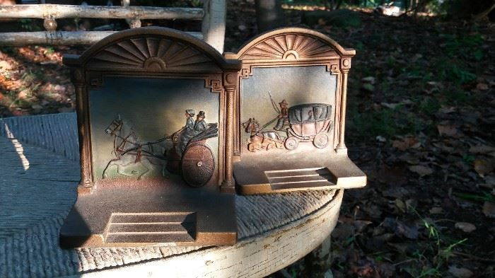 Best of All! Rarest Marked Bradley and Hubbard Mfg. Co. Brass Plated Cast Iron Bookends depicting A Coach and A Cabriolet, aka A Cab. Both hand painted vintage perfection in mint condition. Bring lotsa money.