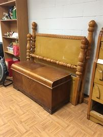 Headboard, footboard and chest