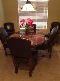 leather dining chairs, dining table