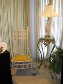 VICTORIAN WICKER LADIES STRAIGHT CHAIR AND MARBLE TOP BRASS PLANT STAND