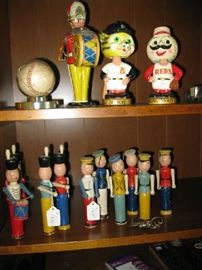 1951 SIGNED TIGER BASEBALL, TIN WIND UP, BOBBLE HEADS, WOODEN SOLDIERS