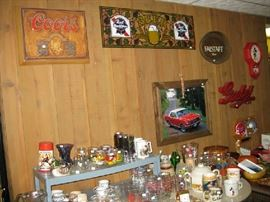 MORE BEER SIGNS AND MISC GLASS WARE