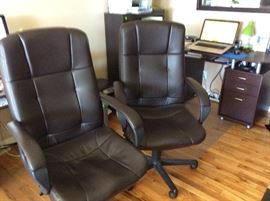 2 LEATHER DESK CHAIRS