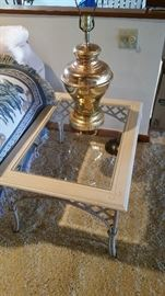 One of two matching tables with lamps