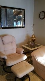 Matching leather chair & ottoman