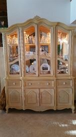 China cabinet full of glass, crystal & china pieces