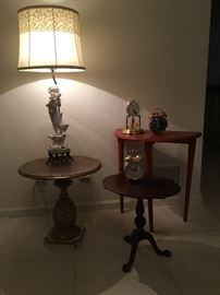 Three tables; misc clocks & Ceramic Lamp