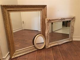 "Large Antigue Golden Mirror 33"" x 28"" w/ HD hanger wire;  Large French Provencial Mirror 23"" x 30""; SOLD;  Small French Provencial Oval Mirror 9"" x 12"""