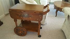 Tea cart with painted décor    $75    Buy ahead  NOW only $35