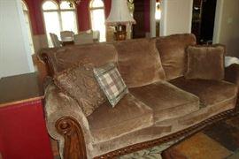 very nice, clean sofa w/wood trim