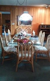 Wicker dining table & 8 chairs