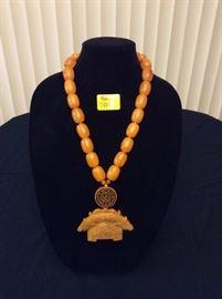 HFJ001 Yellow Jade Pendant w/ Golden Lucite Amber Beads