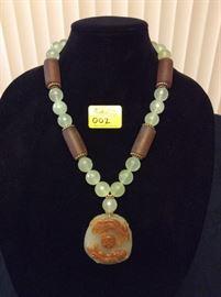 HFJ002 Celadon Jade Pendant w/ Jade and Lucite Beads