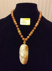 HFJ003 Honey White Jade Pendant and Beads
