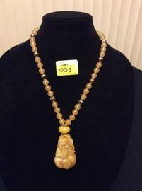 HFJ005 Honey Yellow Jade Pendant w/ Jade Beads