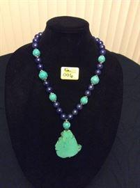 HFJ006 Free Form Turquoise Pendant w/ Blue Lapis & Resin Beads