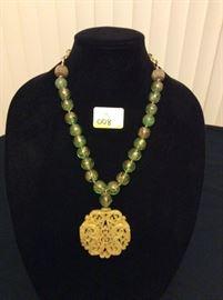 HFJ008 Celadon Yellow Green Jade Pendant w/ Peking Glass Beads