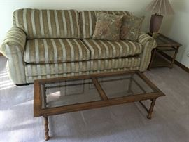 La-Z=Boy sofa in exceptional condition; Also mid-century style bamboo glass coffee table and side table