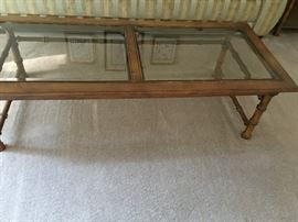 Mid-century style bamboo glass coffee table