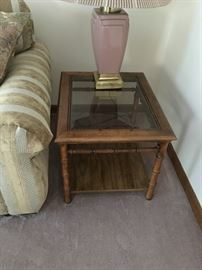 Mid-century style bamboo glass side table