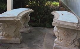Pair concrete garden benches