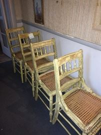 This is a set of 4 painted East lake chairs. This caned seats are in excellent condition. The chairs are also in great condition and could be used now.